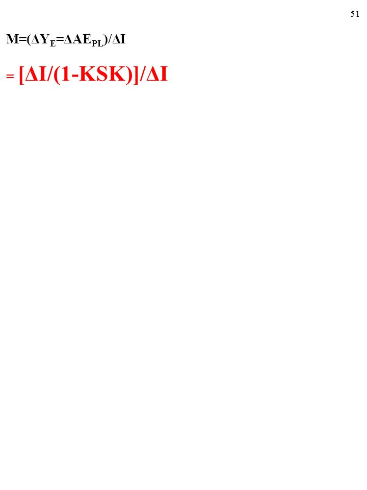 M=(ΔYE=ΔAEPL)/ΔI = [ΔI/(1-KSK)]/ΔI